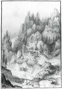 Berghelling met grotten