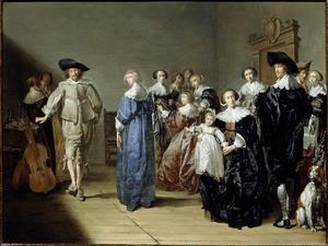 Elegant musicerend, converserend en dansend gezelschap in een interieur