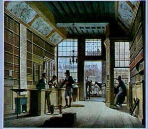 De winkel van boekhandelaar Pieter Meijer Warnars op de Vijgendam te Amsterdam
