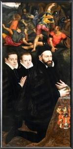 Portret van Antonio del Rio met twee zonen