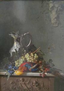 Stilleven met druiven en vogel
