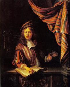 Portret van een man, mogelijk een zelfportret van Matthijs Naiveu (1647-1726)