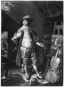 Portrait historié van een jonge man met vanitassymbolen