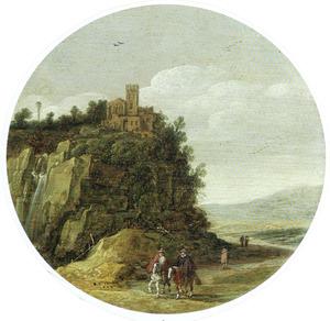 Berglandschap met twee ruiters aan de voet van een bergwand