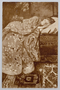Meisje in rode kimono