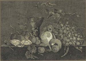 Stilleven met vruchten, oesters en roemer