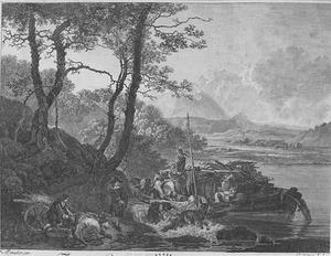 Zuidelijk landschap met veerboot