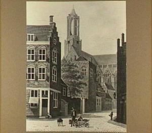 Gezicht vanaf de Pausdam te Utrecht naar Achter de Dom met in de achtergrond de Domkerk