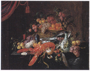 Stilleven met groente, fruit en kreeft