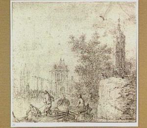 Palingvissers, rechts een kerktoren (St. Jacobskerk, Den Haag?)