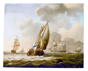 Een Brits fregat  en andere schepen voor de kust terwijl een Nederlands schip - de Minerva uit Vlissingen - uitvaart