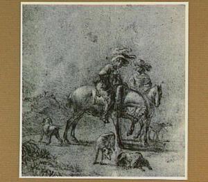 Jachthonden en figuren te paard