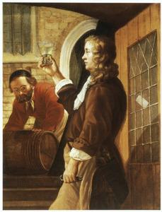 Man keurt een roemer wijn