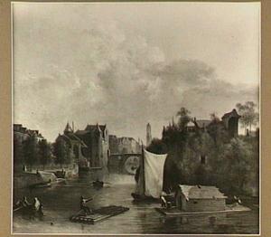 Utrecht: gezicht op de Weerdpoort, de Domtoren en het bastion Morgenster
