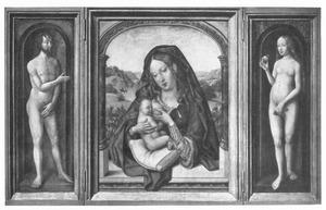 Maria met kind voor een landschap (midden), geflankeerd door Eva die Adam het veroden fruit aanbiedt (Genesis 3:6)
