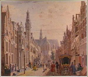Bruidsstoet in de Langestraat, gezien naar de Grote Kerk, te Alkmaar