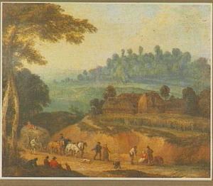 Landschap met boerderij, op de voorgrond een hooiwagen