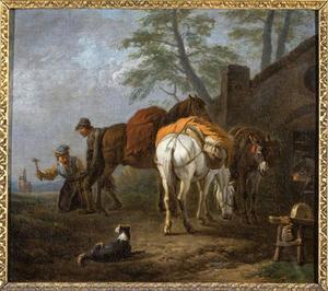 Twee paarden en een ezel bij de hoefsmid