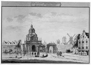 Wittevrouwenpoort te Utrecht, met rechts de Plompetoren
