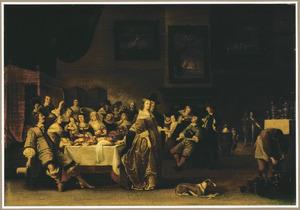 Elegant etend en drinkend gezelschap in een interieur