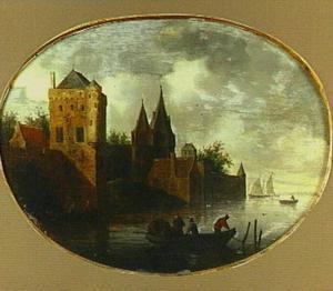 Rivierlandschap met kasteel