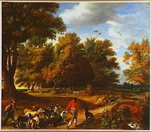 Jagers met een meute in een boslandschap