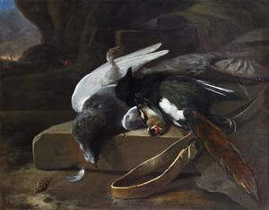 Stilleven met dode vogels en jachtgerei in een landschap