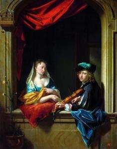 Een violist en een vrouw