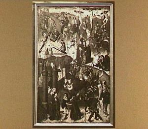 Episoden uit het lijden van Christus: de kruisdraging (onder), Christus wordt aan het kruis genageld (linksmidden), de kruisiging (rechtsboven)
