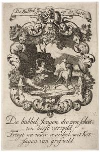 Allegorische voorstelling met een leeuw en een eenhoorn, in een cartouche