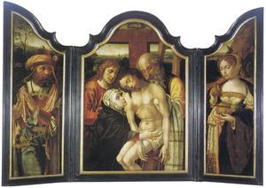 Jozef van Arimathea (links), de kruisafneming (midden), de H. Maria Magdalena (rechts)