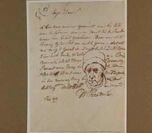 Zelfportret met dikke wang, in een brief