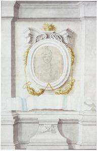Zelfportret, geplakt op een blad met getekende omlijsting