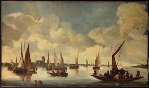 Schepen op de rivier voor Dordrecht