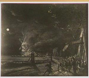 Nachtelijke brand van de Kruismolen aan de zijlweg te Haarlem