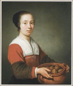 Jonge vrouw met een kookpot vol oliebollen