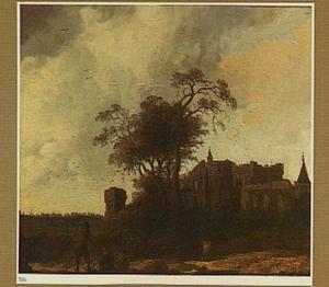Landschap met de ruïne van een kasteel (Egmond?)