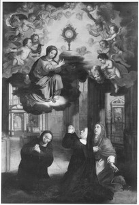 De HH. Julienne, Eve en Isabelle aanbidden het H. Sacrament