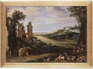Glooiend landschap met geitenhoeders en antieke ruïnes