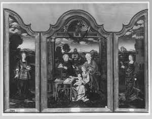 De H. Catharina (links); de H. Familie met de H. Anna (midden); de H. Barbara (rechts)