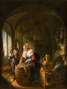 Keukentafereel met een vrouw en een jongen met een muizenval