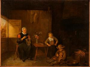 Haspelende vrouw en twee spelende kinderen in een interieur