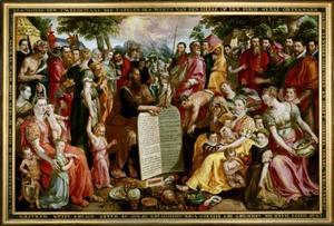 Mozes en de Tafelen der wet, omgeven door leden van de Antwerpse familie Panhuys en Hooftman