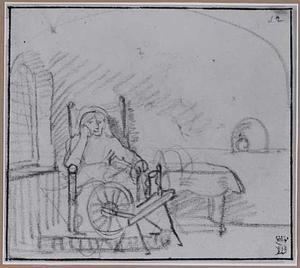 Oude vrouw met spinnewiel in interieur