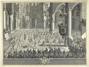 Het huwelijk van Carolina van Oranje-Nassau (1743-1787) en Karl Christiaan van Nassau-Weilburg in de Grote Kerk te Den Haag op 5 maart 1760