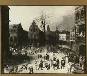 Carnaval op een stadsplein