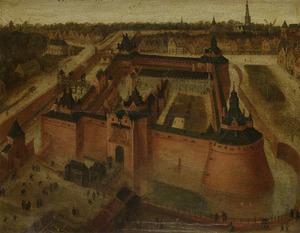 Het kasteel Vredenburch te Utrecht in vogelvlucht
