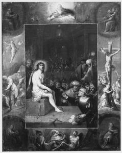 Bespotting van Christus, met rondom in grisaille: de Kruisiging, de Opstanding, God de Vader, de Mensheid na de zondeval,; in de hoeken de vier evangelisten