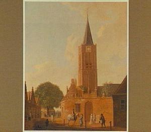Gezicht in de Kerkstraat  te Beverwijk met het Groene Poortje en de Wijkertoren van de Grote Kerk