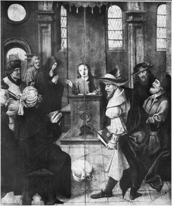 Christus als twaalfjarige in de tempel (op de voorzijde: De wijding van een paus (?))